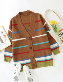 Fashion Brown Striped Buttoned Contrast V-neck Cardigan