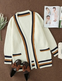 Fashion Creamy-white Colorblock Striped Knitted Cardigan