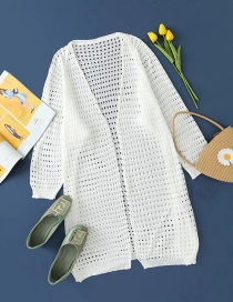 Fashion White Hollow Solid Color Long Knitted Cardigan