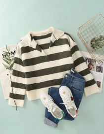 Fashion Coffee Color Striped Lapel Knitted Sweater