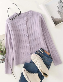 Fashion Purple Round Neck Knitted Cardigan With Pit Button
