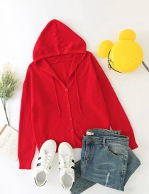 Fashion Red Hooded Knitted Buttoned Cardigan