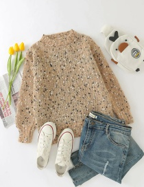 Fashion Khaki Coarse Gold Wire Round Neck Knitted Pullover Sweater