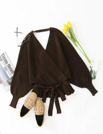 Fashion Dark Brown Wrapped Ruffled Hem Knitted Sweater