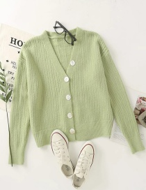 Fashion Green Buttoned Hollow V-neck Knit Cardigan