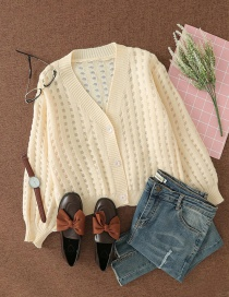 Fashion Off-white Hollow V-neck Buttoned Loose Cardigan