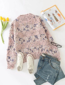 Fashion Pink Round Neck Knitted Pullover Sweater