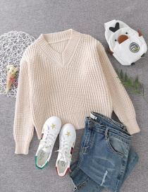 Fashion Beige V-neck Thick Wool Sweater