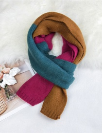 Fashion Rose Red Orange Stitching Contrast Knitted Wool Scarf