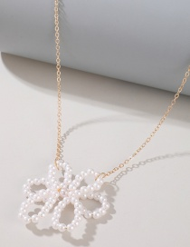 Fashion White Pearl Flower Beaded Alloy Hollow Necklace