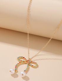 Fashion Color Mixing Pearl And Diamond Butterfly Combined With Gold Hollow Necklace