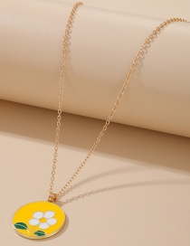 Fashion Flower Yellow Round Piece Flower Fruit Moon Butterfly Alloy Necklace