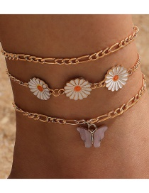 Fashion Golden Multilayer Anklet With Flower Butterfly Dripping Oil Alloy Pendant