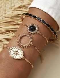 Fashion Golden Hollow Sun Round Brand Starlight Drop Oil Alloy Multilayer Bracelet