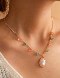 Fashion Golden Crushed Oval Pearl Alloy Necklace