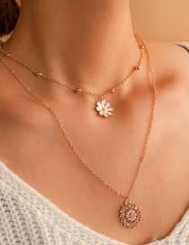 Fashion Golden Hollow Round Pearl Daisy Multilayer Necklace
