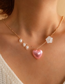 Fashion Pink Love Flower Pearl Alloy Resin Necklace