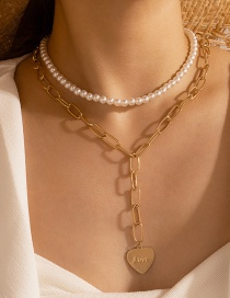 Fashion Golden Love Letter Pearl Pendant Multilayer Necklace