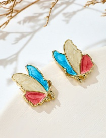 Fashion Color Mixing Butterfly Drop Oil Alloy Earrings