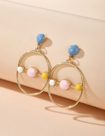 Fashion Golden Colorblock Geometric Round Alloy Earrings