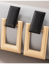 Fashion Golden Geometric Rectangular Frosted Earrings