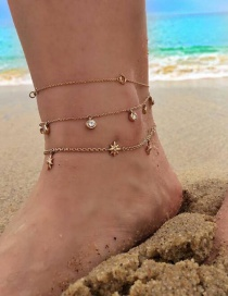 Fashion Golden Diamond-studded Star Alloy Pendant Multilayer Anklet