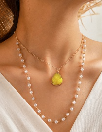 Fashion Yellow Natural Stone Geometric Resin Pearl Multilayer Necklace