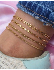 Fashion Golden Thick Chain Hollow Alloy Multilayer Anklet