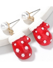 Fashion Christmas Gloves Alloy Inlaid Pearl Resin Christmas Glove Earrings