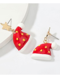Fashion Christmas Hat Alloy Star Resin Christmas Hat Earrings
