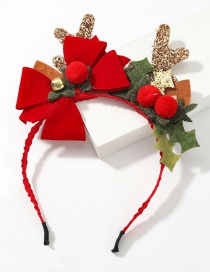 Fashion Red Ball Bell Antlers Bell Hair Ball Resin Flannel Antler Headband