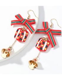 Fashion Christmas Gift Box Bells Grosgrain Bow Resin Alloy Bell Christmas Earrings