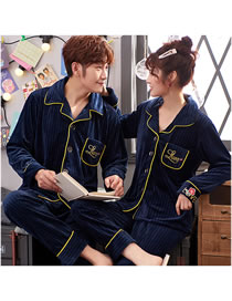Fashion 1 Blue (female Models) Cardigan Coral Fleece Couple Pajamas Home Service Suit