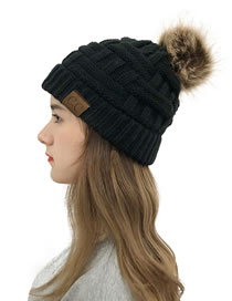 Fashion Black Knitted Hat With Bamboo Woven Letter Mark Cross With Back Opening