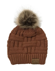 Fashion Caramel Colour Knitted Hat With Bamboo Woven Letter Mark Cross With Back Opening