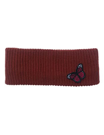 Fashion Wine Red Butterfly Knitted Wool Stretch Headband