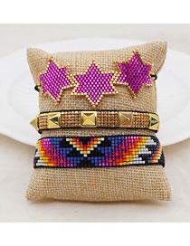Fashion Set Price Purple Handmade Rice Bead Woven Five-pointed Star Rivet Bracelet