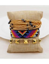 Fashion Set Price Mixed Color Handmade Rice Beads Beaded Rivet Eye Bracelet