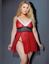 Fashion Red Fleece Net Yarn Deep V Large Size Sling Dress See-through Sexy Underwear