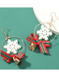 Fashion Snowflake Knot Bell Resin Snowflake Bow Bell Earrings