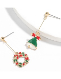 Fashion Christmas Bell Garland Alloy Dripping Christmas Bell Wreath Earrings