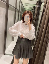 Fashion Black Irregular Skirt With Pleated Belt Buckle