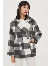 Fashion Black And White Double-breasted Plaid Wool Coat