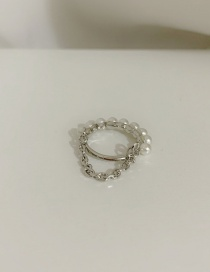 Fashion Pearl (no. 5) Square Thick Chain Ring With Gems And Pearls