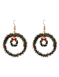 Fashion Christmas Circle Hollow Round Christmas Earrings With Alloy Ribbon