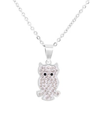 Fashion Silver Stainless Steel Animal Owl Pendant Necklace