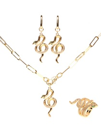 Fashion Suit Thick Rope Chain Snake Necklace Earrings Ring Set