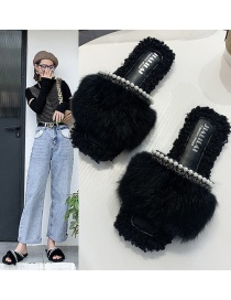 Fashion Word Black One Word Pearl Cross Tassel Rabbit Hair Cotton Slippers