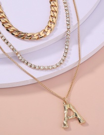 Fashion Gold Color Multilayer Necklace With Diamond Letter Pendant