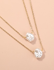 Fashion White Shaped Baroque Pearl Geometric Multilayer Necklace